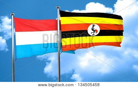 Luxembourg flag with Uganda flag, 3D rendering