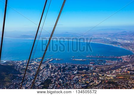 Magnificent views from the huge ferris wheel. Cape Town port, South Africa