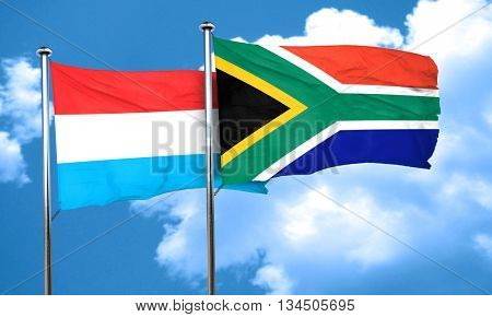 Luxembourg flag with South Africa flag, 3D rendering