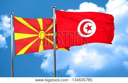 Macedonia flag with Tunisia flag, 3D rendering