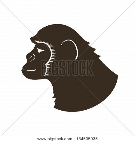 Ink drawing monkey hand in profile, vector illustration in doodle style