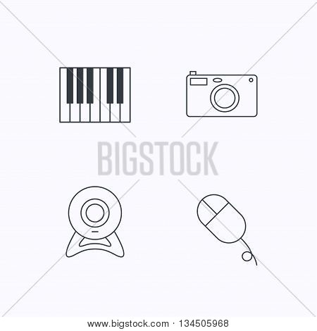 Piano, web camera and photo camera icons. PC mouse linear sign. Flat linear icons on white background. Vector