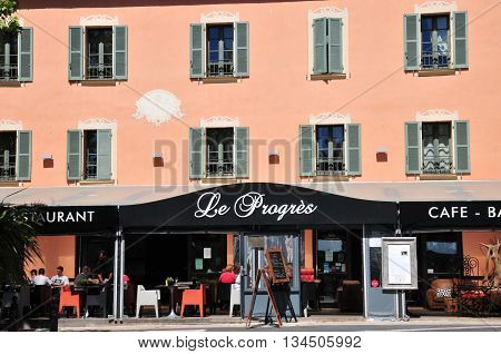 Bormes les Mimosas France - april 18 2016 : restaurant in the old village in spring