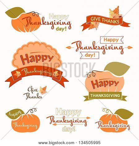 Set of vintage labels and inscriptions Thanksgiving, seasonal logos in color, holiday concept, Give Thanks design elements, vector illustration