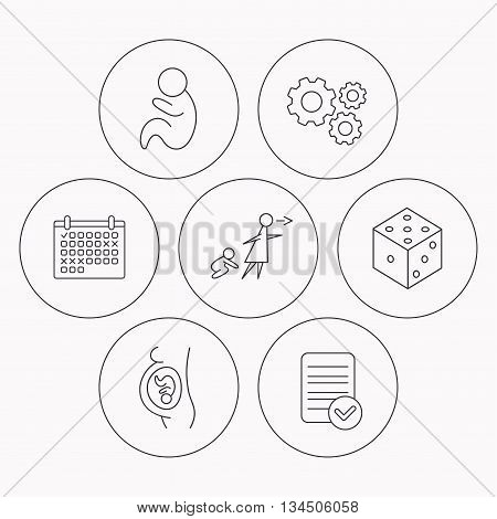 Pregnancy, paediatrics and dice icons. Unattended linear sign. Check file, calendar and cogwheel icons. Vector