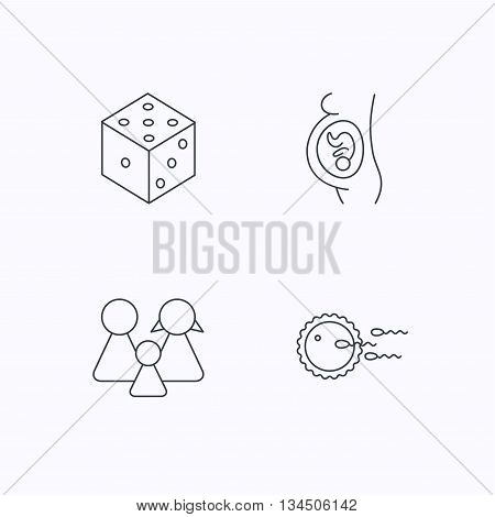 Pregnancy, family and family planning icons. Dice linear sign. Flat linear icons on white background. Vector
