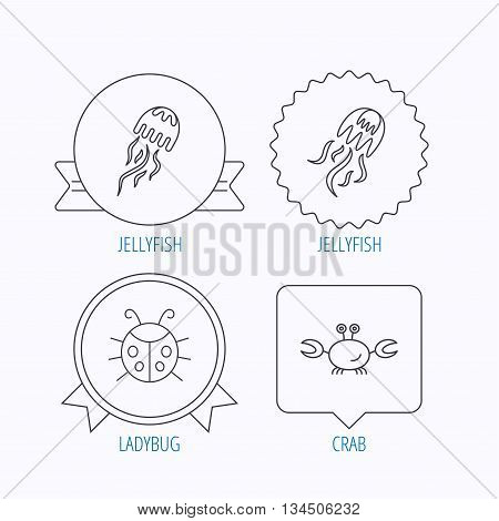 Jellyfish, crab and ladybug icons. Ladybird linear sign. Award medal, star label and speech bubble designs. Vector