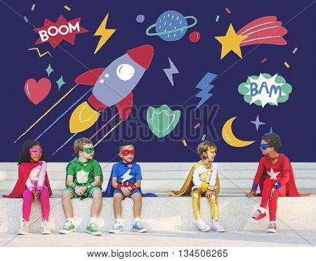 Superhero Super kids Children Hero Playful Concept