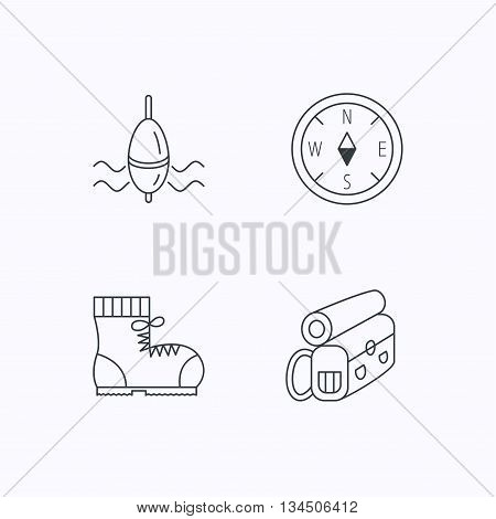 Compass, fishing float and hiking boots icons. Backpack linear sign. Flat linear icons on white background. Vector