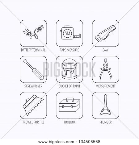 Screwdriver, plunger and repair toolbox icons. Trowel for tile, bucket of paint linear signs. Measurement, battery terminal icons. Flat linear icons in squares on white background. Vector
