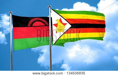 Malawi flag with Zimbabwe flag, 3D rendering