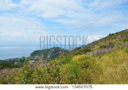 View of the summer coastal landscape in Montenegro