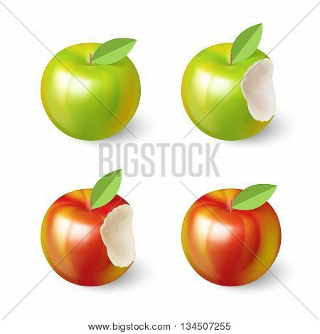 Bitten Apples Set with Green Leaf on White Background