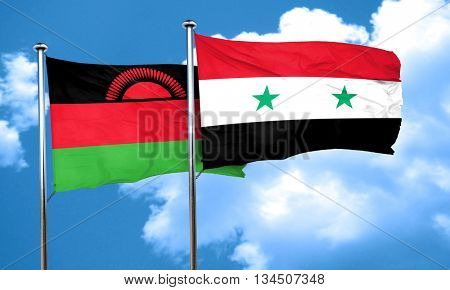 Malawi flag with Syria flag, 3D rendering