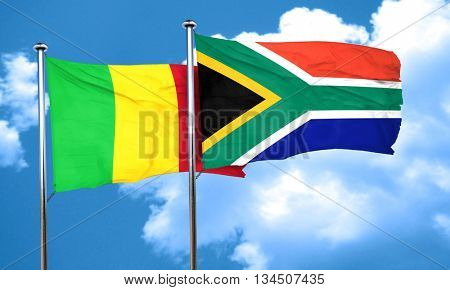 Mali flag with South Africa flag, 3D rendering
