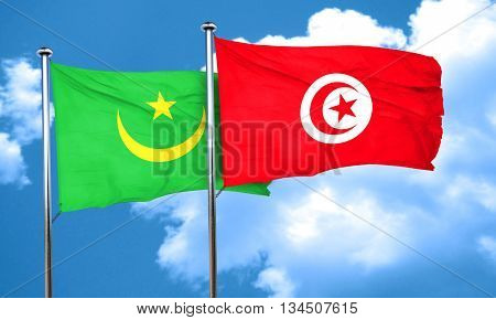 Mauritania flag with Tunisia flag, 3D rendering