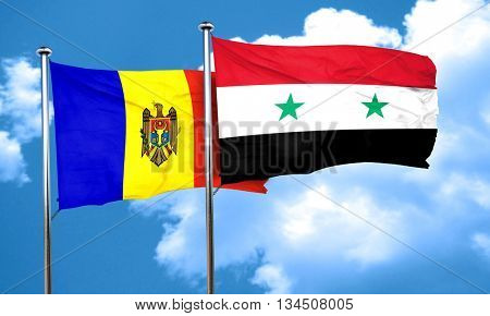 Moldova flag with Syria flag, 3D rendering