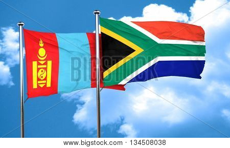 Mongolia flag with South Africa flag, 3D rendering