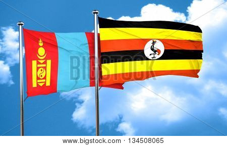 Mongolia flag with Uganda flag, 3D rendering