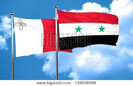 Malta flag with Syria flag, 3D rendering