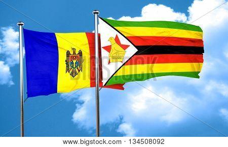 Moldova flag with Zimbabwe flag, 3D rendering