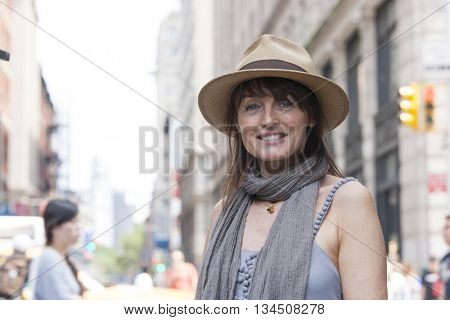 Pedestrian portrait in city