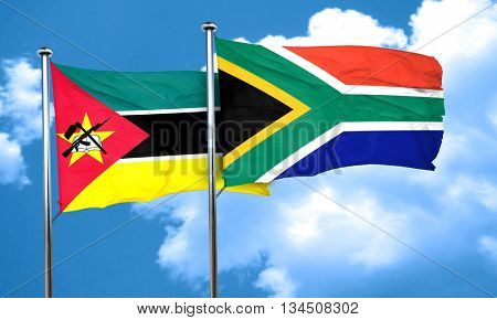 Mozambique flag with South Africa flag, 3D rendering