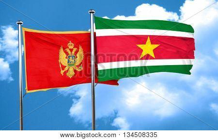 Montenegro flag with Suriname flag, 3D rendering