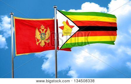 Montenegro flag with Zimbabwe flag, 3D rendering