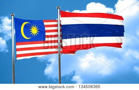 Malaysia flag with Thailand flag, 3D rendering