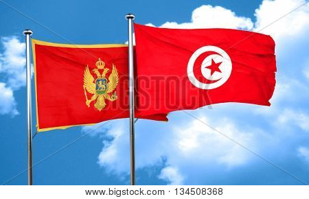 Montenegro flag with Tunisia flag, 3D rendering