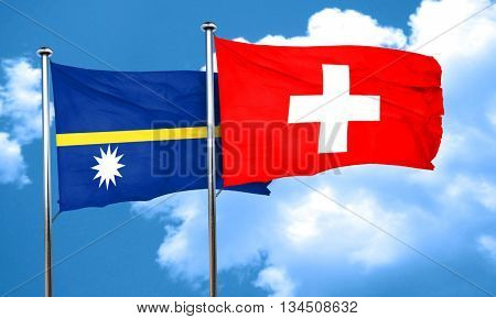 Nauru flag with Switzerland flag, 3D rendering