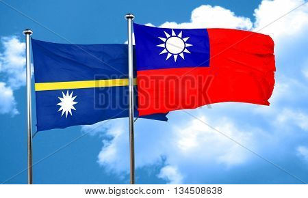 Nauru flag with Taiwan flag, 3D rendering