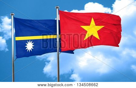 Nauru flag with Vietnam flag, 3D rendering