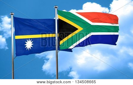 Nauru flag with South Africa flag, 3D rendering