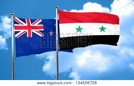 New zealand flag with Syria flag, 3D rendering