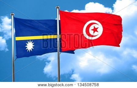 Nauru flag with Tunisia flag, 3D rendering