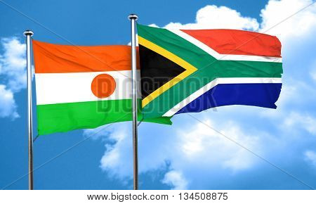 niger flag with South Africa flag, 3D rendering