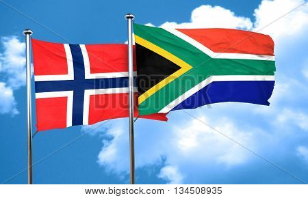 norway flag with South Africa flag, 3D rendering