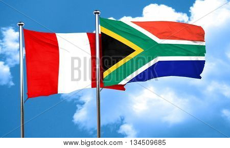 Peru flag with South Africa flag, 3D rendering