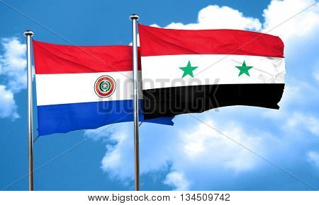 Paraguay flag with Syria flag, 3D rendering