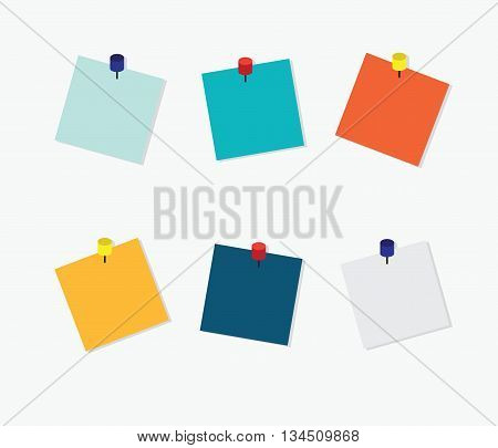 Blank Colorful Sticky Notes Post it note with pin on white background vector illustration.