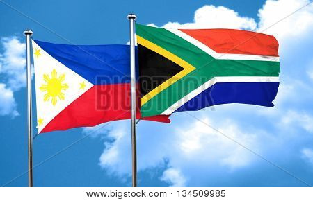 Philippines flag with South Africa flag, 3D rendering