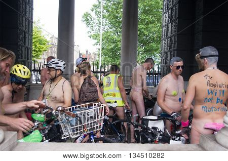 London United Kingdom. 11 June 2016. Group of people getting ready at the starting point of the World Naked Bike Ride near the Tower Hill London.