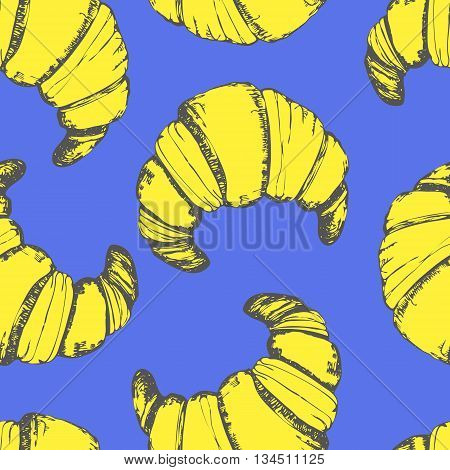 Croissant funny pattern. Vector hand-drawn sketch of croissant. Fresh organic food. Yellow vector blue. Fluorescent colors.