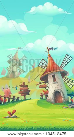 Cartoon stylized vector illustration on the theme of the European landscape with a windmill mobile format. For print create videos or web graphic design user interface card poster.
