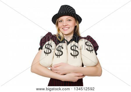 Woman with money sacks on white