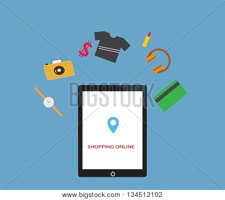 shopping online by tablet, Shopping in online store. Internet shopping. vector illustration