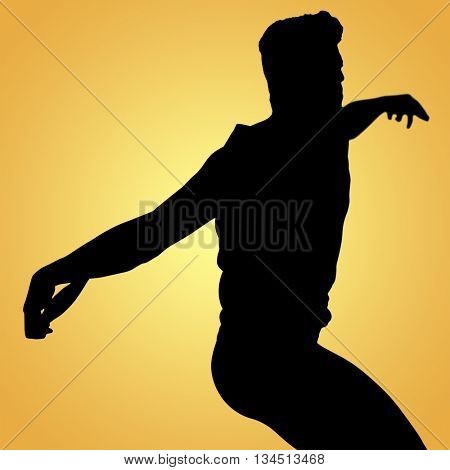Side view of man throwing discus against yellow vignette