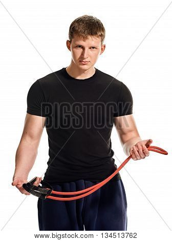 fitness, sport, exercising, training and lifestyle concept - young man portrait with expander on white background